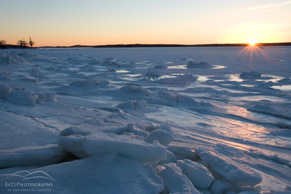The frozen landscape of Mt. Desert Narrows in Maine's Acadia National Park. Sunset.
