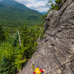 Nate Tuttle rock climbing on Square Ledge in New Hampshire's White Mountains.