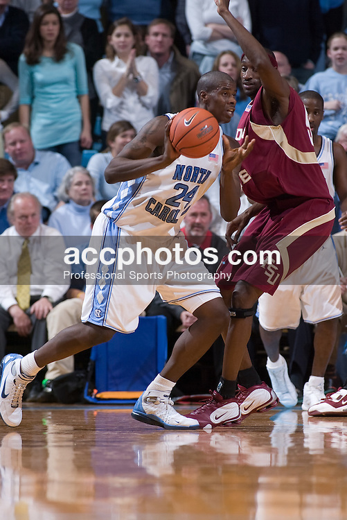 2005 March 03: North Carolina Tar Heel forward Marvin Williams (24) during a 91-76 North Carolina victory over the Florida State Seminoles in Chapel Hill, NC.