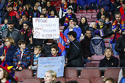 January 13, 2019 - Barcelona, Catalonia, Spain - FC Barcelona defender Gerard Pique (3) and FC Barcelona forward Luis Suarez (9) fans during the match FC Barcelona against Eibar, for the round 19 of the Liga Santander, played at Camp Nou  on 13th January 2019 in Barcelona, Spain. (Credit Image: © Mikel Trigueros/NurPhoto via ZUMA Press)