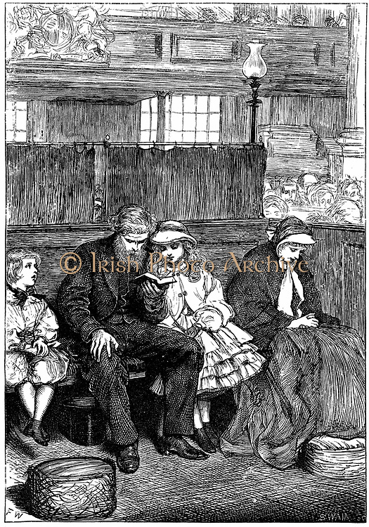 Family at Sunday church service in their Box Pew. Wood engraving from 'The Cornhill Magazine', London, 1862.