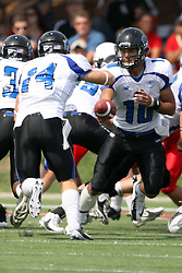 15 September 2012:  Jimmy Garoppolo hands off to Taylor Duncan during an NCAA football game between the Eastern Illinois Panthers and the Illinois State Redbirds at Hancock Stadium in Normal IL