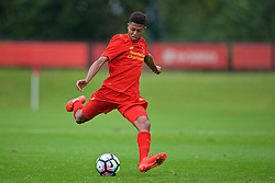 KIRKBY, ENGLAND - Saturday, September 24, 2016: Liverpool's Rhian Brewster in action against Everton during the Under-18 FA Premier League match at the Kirkby Academy. (Pic by David Rawcliffe/Propaganda)
