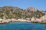 The fortress village of Kalekoy in<br /> Kekova Bay, south coast  Turkey<br /> c. Ellen Rooney