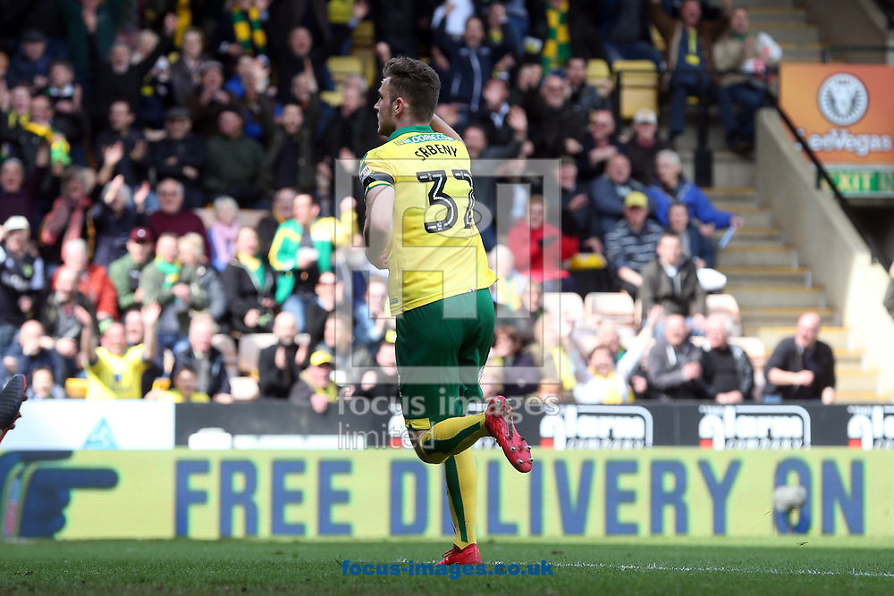 Dennis Srbeny of Norwich celebrates scoring his side&rsquo;s 2nd goal during the Sky Bet Championship match at Carrow Road, Norwich<br /> Picture by Paul Chesterton/Focus Images Ltd +44 7904 640267<br /> 07/04/2018