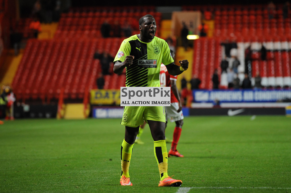 Huddersfields Ishmael Miller celebrates after their 2-1 win over Charlton in the Sky Bet Championship