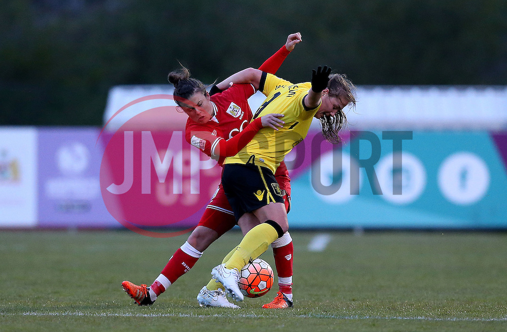 Ellie Wilson defender for Bristol City Women tackles Katie Wilkinson of Aston Villa Ladies - Mandatory by-line: Robbie Stephenson/JMP - 02/01/2012 - FOOTBALL - Stoke Gifford Stadium - Bristol, England - Bristol City Women v Aston Villa Ladies - FA Women's Super League 2