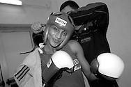 Roma 23 Dicembre 2004.Palestra Lagrange.Riunione Boxe organizzata dalla Societa' Cristoforo Colombo.La pugile Alice Caligiura (A.S. Gladiators ) Cat. se. II° peso 59kg.