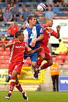 Photo: Ed Godden/Sportsbeat Images.<br /> Leyton Orient v Hartlepool United. Coca Cola League 1. 22/09/2007. Hartlepool's Richard Barker (C), makes a leap for the ball.