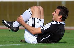 Aleksandar Rodic (7) of Interblock injured at 12th Round of PrvaLiga Telekom Slovenije between NK Luka Koper vs NK Interblock, on October 4, 2008, in SRC Bonifika in Koper, Slovenia. Interblock won the match 4:1. (Photo by Vid Ponikvar / Sportal Images)
