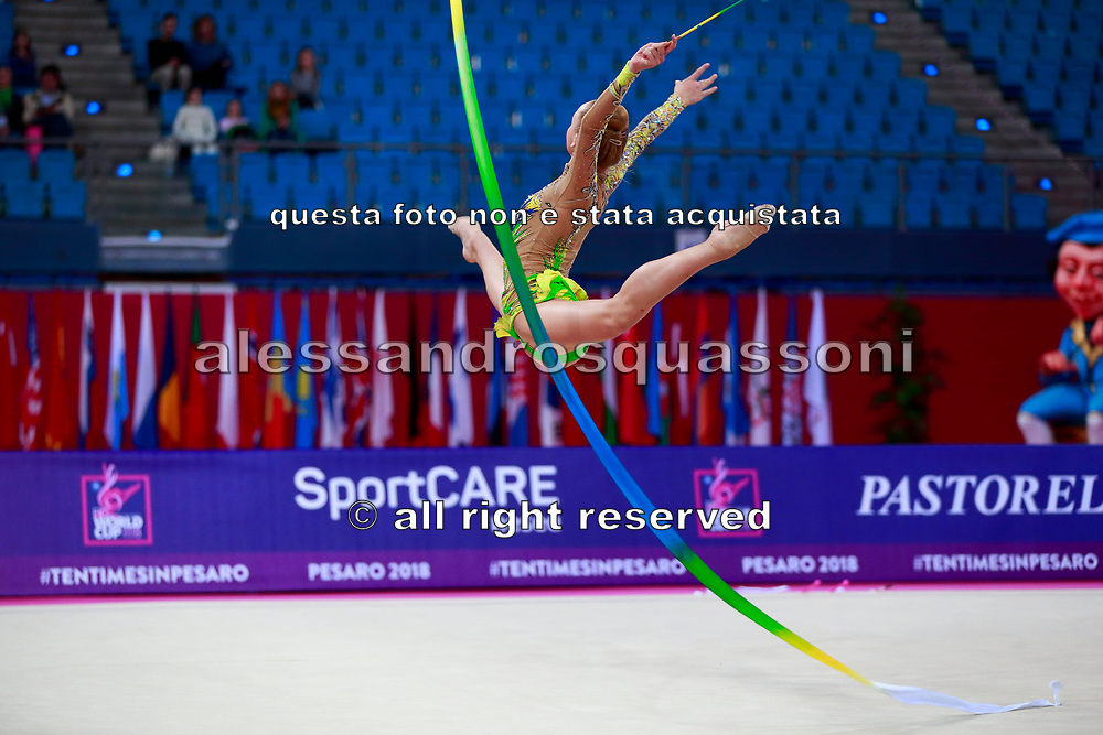 Telegina Yuliana during the qualification at the ribbon of the World Cup group of Pesaro 2018. Yuliana is an Israeli gymnast born in 2002.