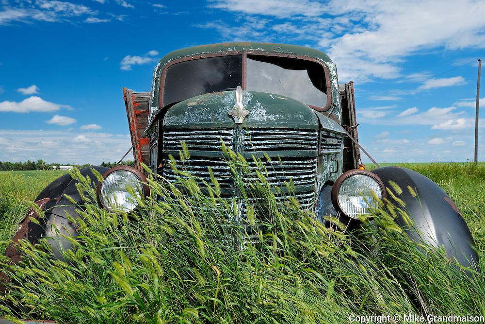 Old International truck on farm<br /> Hazenmore<br /> Saskatchewan<br /> Canada