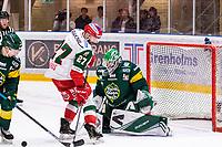 2019-12-02 | Umeå, Sweden:Mora (27) Brant Harris misses his chans to score in HockeyAllsvenskan during the game  between Björklöven and Mora at A3 Arena ( Photo by: Michael Lundström | Swe Press Photo )<br /> <br /> Keywords: Umeå, Hockey, HockeyAllsvenskan, A3 Arena, Björklöven, Mora, mlbm191202