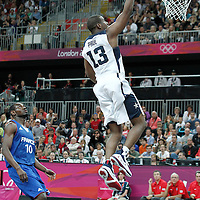 29 July 2012: USA Chris Paul goes for the layup during the 98-71 Team USA victory over Team France, during the men's basketball preliminary, at the Basketball Arena, in London, Great Britain.