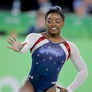 Gymnastics - Olympics: Day 6  Simone Biles #391 of the United States in action during her Floor Exercise during her gold Medal performance in the Artistic Gymnastics Women's Individual All-Around Final at the Rio Olympic Arena on August 11, 2016 in Rio de Janeiro, Brazil. (Photo by Tim Clayton/Corbis via Getty Images)