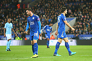 Dejected Leicester players during the Premier League match between Leicester City and Manchester City at the King Power Stadium, Leicester, England on 18 November 2017. Photo by John Potts.