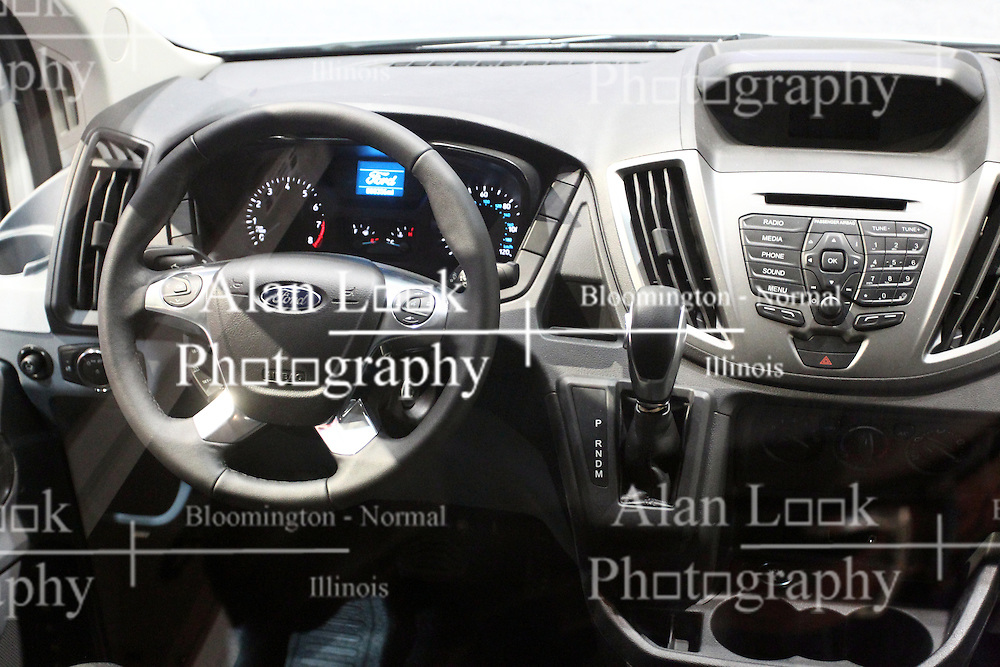 12 February 2015:  Ford Transit interior.<br /> <br /> First staged in 1901, the Chicago Auto Show is the largest auto show in North America and has been held more times than any other auto exposition on the continent. The 2015 show marks the 107th edition of the Chicago Auto Show. It has been  presented by the Chicago Automobile Trade Association (CATA) since 1935.  It is held at McCormick Place, Chicago Illinois