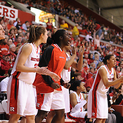Jan 31, 2009; Piscataway, NJ, USA; The Rutgers bench reacts to a bad inbounding play by South Florida during the closing minutes of South Florida's 59-56 victory over Rutgers in NCAA women's college basketball at the Louis Brown Athletic Center