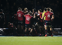Rugby Union - 2019 / 2020 European Rugby Heineken Champions Cup - Pool Four: Saracens vs. Munster<br /> <br /> Players clash after the Munster doctor apparently said something to Jamie George, at Allianz Park.<br /> <br /> COLORSPORT/ANDREW COWIE