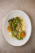 roasted broccolini and barley salad with tahini and olive oil dressing