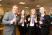 10 October 2017: Cleethorpes Academy Presentation Evening at Grimsby Auditorium. The guest speaker was Aled Jones MBE who presented the awards and also visited the Academy earlier in the day.<br /> He is pictured with<br /> (l-r) Faith Love, Elisha Appleton and Amelia Hooper all year 11 who laser etched Aled's name on pencils.<br /> Picture: Sean Spencer/Hull News & Pictures Ltd<br /> 01482 210267/07976 433960<br /> www.hullnews.co.uk         sean@hullnews.co.uk