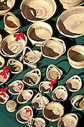 Traditional Gullah sweetgrass baskets on display in Charleston, SC.