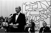 24/10/1971<br /> 10/24/1971<br /> 24 October 1971<br /> Opening of ROSC 1971 art exhibition at the RDS, Ballsbridge, Dublin. Picture shows An Taoiseach Mr Jack Lynch speaking at the opening. Included are Mr Michael Scott (centre) and Mr C.J. Haughey TD.