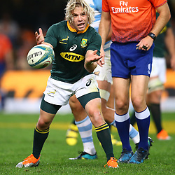 DURBAN, SOUTH AFRICA - AUGUST 18: Faf de Klerk of South Africa during the Rugby Championship match between South Africa and Argentina at Jonsson Kings Park on August 18, 2018 in Durban, South Africa. (Photo by Steve Haag/Gallo Images)