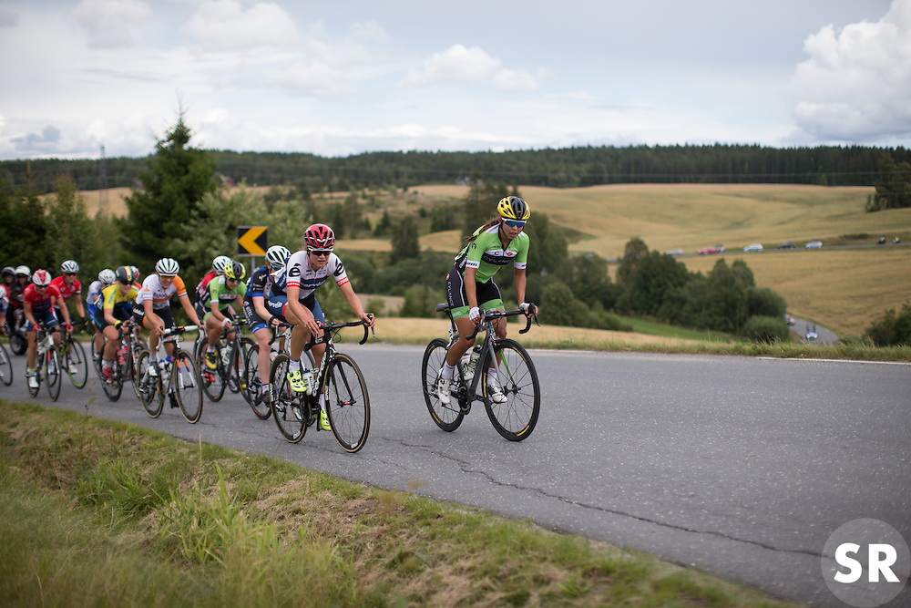 Joelle Numainville (CAN) of Cervélo-Bigla Cycling Team (M) and Carmen Small (USA) of Cylance Pro Cycling dictate the pace up on the second KOM climb of the 97,1 km second stage of the 2016 Ladies' Tour of Norway women's road cycling race on August 13, 2016 between Mysen and Sarpsborg, Norway. (Photo by Balint Hamvas/Velofocus)
