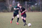 10/02/2018 - Kettledrum (red and black) v Hawkhill (green and black) in the Dundee Saturday Morning Football League at Riverside, Dundee, Picture by David Young -