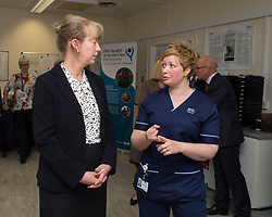 Scottish Health Secretary Shona Robison meets with staff at the Victoria Hospital in Kirkcaldy to announce &pound;5 million GBP extra funding for NHS services in Scotland to help with tackling the increased strain on health services during the winter months.<br /> <br /> &copy; Dave Johnston/ EEm