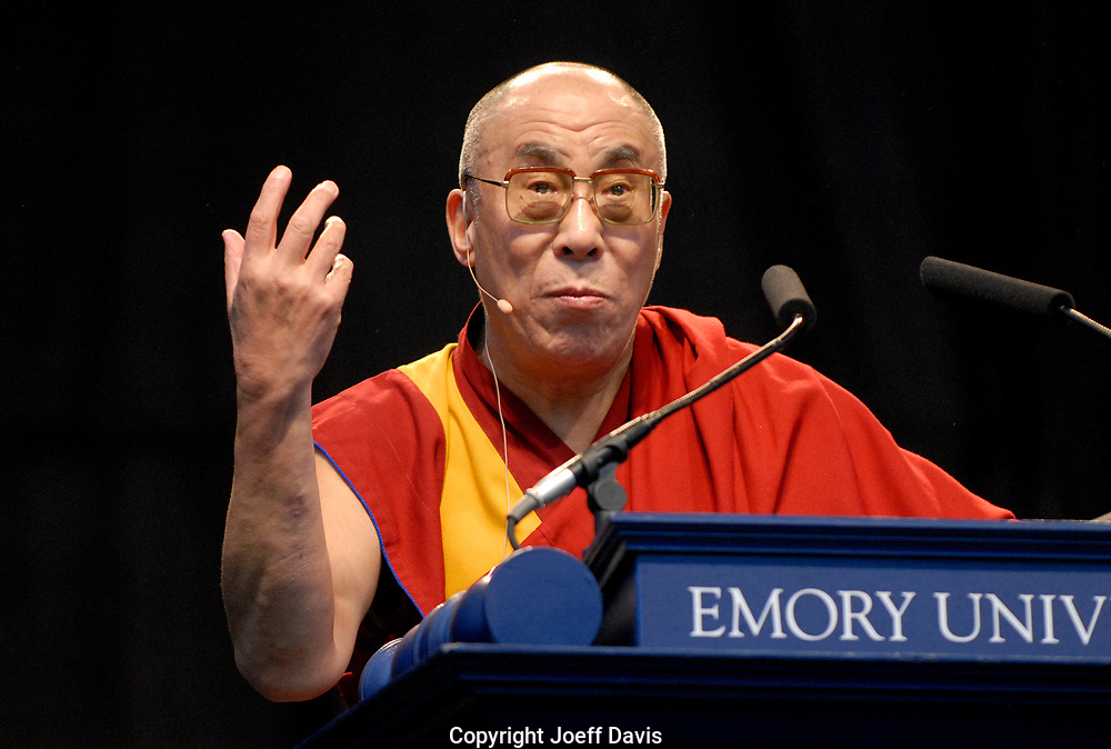 "ATLANTA, GA - October 22, 2007: His Holiness the Dalai Lama shares his spiritual and philosophical wisdom in a free public lecture titled ""EDUCATING THE HEART AND MIND: A PATH TO UNIVERSAL RESPONSIBILITY""  at Centennial Olympic Park in downtown Atlanta. The free lecture is one in a series of programs, welcoming the Dalai Lama as an Emory University presidential distinguished professor."