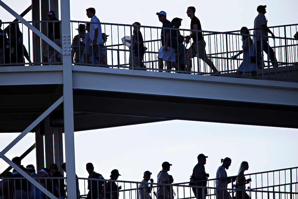 STARKVILLE, MS - SEPTEMBER 19:  Fans make their way up the ramps to their seats before a game between the Mississippi State Bulldogs and the Northwestern State Demons at Davis Wade Stadium on September 19, 2015 in Starkville, Mississippi.  The Bulldogs defeated the Demons 62-13.  (Photo by Wesley Hitt/Getty Images) *** Local Caption ***