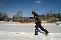 Bill Kosla takes a few laps on Bolduc Park's touring trails Thursday afternoon.   (Karen Bobotas/for the Laconia Daily Sun)