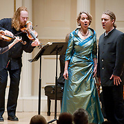 November 15, 2011 - Manhattan, NY : The Theatre of Early Music including, from left, violinist Cynthia Roberts, violinist Edwin Huizinga, soprano Deborah York, and conductor and countertenor Daniel Taylor, perform works by George Frideric Handel in the Joan and Sanford I. Weill Recital Hall at Carnegie Hall on Tuesday night. CREDIT: Karsten Moran for The New York Times