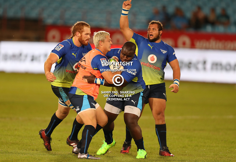 Trevor Nyakane taking the ball off Tian Schoeman of the Vodacom Bulls during the Super Rugby match between the Vodacom Bulls and the Jaguares at Loftus Versfeld, Pretoria,South Africa April 15th 2017 Photo by (Steve Haag)