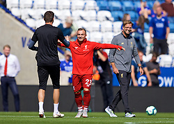 LEICESTER, ENGLAND - Saturday, September 1, 2018: Liverpool's Xherdan Shaqiri greets Leicester City's goalkeeper Eldin Jakupović before the FA Premier League match between Leicester City and Liverpool at the King Power Stadium. (Pic by David Rawcliffe/Propaganda)