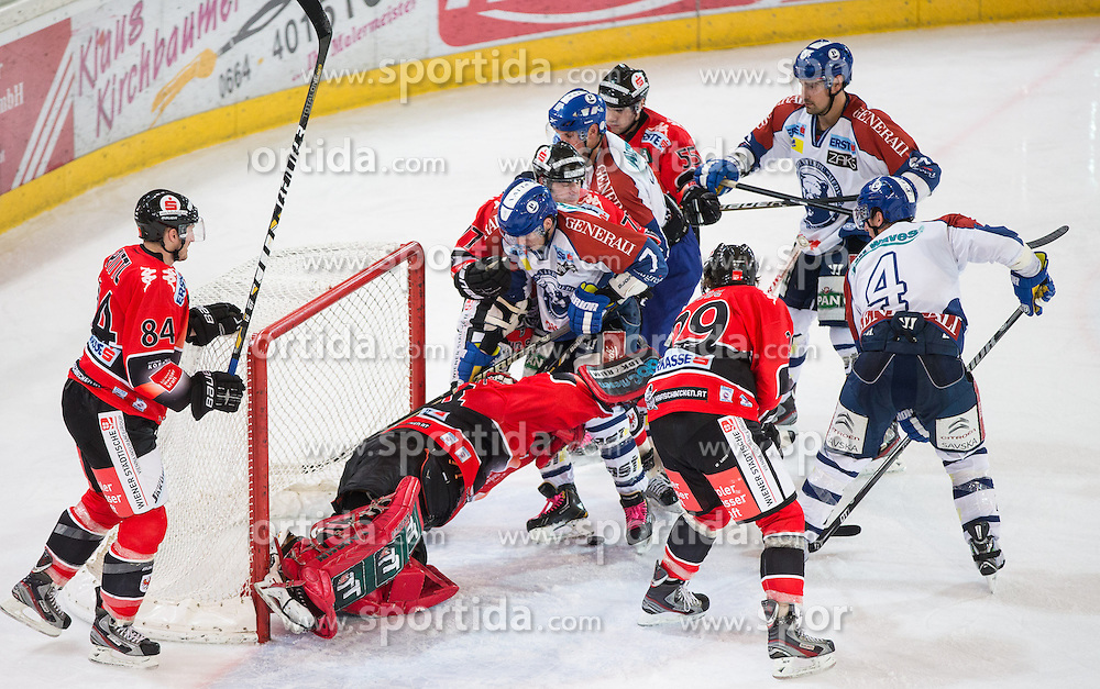 19.10.2012, Tiroler Wasserkraft Arena, Innsbruck, AUT, EBEL, HC TWK Innsbruck vs KHL Medvescak Zagreb, 13. Runde, im Bild Action vor dem Goal von Thomas Tragust, (HC TWK Innsbruck, # 34) // during the Erste Bank Icehockey League 13nd round match between HC TWK Innsbruck and KHL Medvescak Zagreb at the Tiroler Wasserkraft Arena, Innsbruck, Austria on 2012/10/19. EXPA Pictures © 2012, PhotoCredit: EXPA/ J. Groder