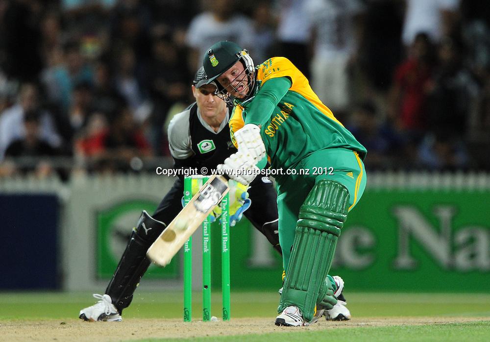 South Africa's Richard Levi hits his 13th 6 during the 2nd InternationaI Twenty20 cricket match between New Zealand Black Caps and South Africa at Seddon Park, Hamilton, New Zealand on Sunday 19 February 2012. Photo: Andrew Cornaga/Photosport.co.nz