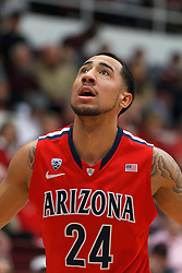 Feb 4, 2012; Stanford CA, USA; Arizona Wildcats guard Brendon Lavender (24) before a free throw against the Stanford Cardinal during the first half at Maples Pavilion.  Arizona defeated Stanford 56-43. Mandatory Credit: Jason O. Watson-US PRESSWIRE