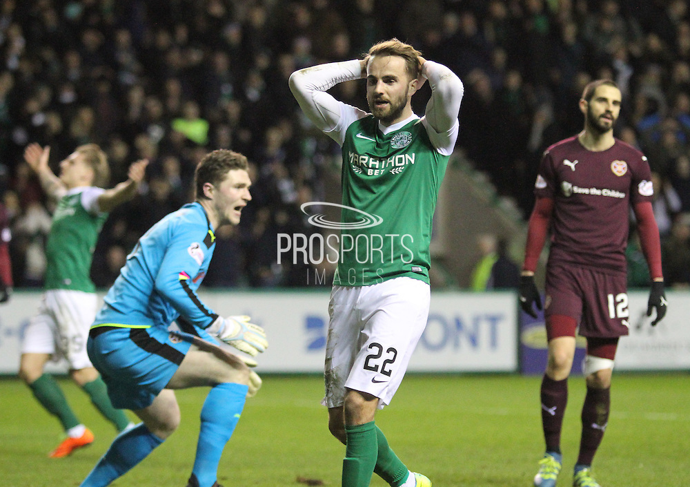 22 Hibernian Midfielder Andrew Shinnie just misses the shot during the Scottish Cup fifth round replay match between Hibernian and Heart of Midlothian at Easter Road, Edinburgh, Scotland on 22 February 2017. Photo by Craig McAllister.