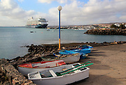 Harbour with large cruise ship, Puerto del Rosario, Fuerteventura, Canary Islands, Spain