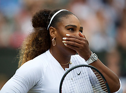 LONDON, ENGLAND - Saturday, July 6, 2019: Serena Williams (USA) during the Mixed Doubles first round match on Day Six of The Championships Wimbledon 2019 at the All England Lawn Tennis and Croquet Club. Murray & Williams won 6-4, 6-1. (Pic by Kirsten Holst/Propaganda)