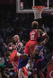 October 21, 2018 - Los Angeles, California, U.S - The Los Angeles Clippers defenders try to block James Harden #13 of the Houston Rockets as he drives to the basket during their NBA game on Sunday October 21, 2018 at the Staples Center in Los Angeles, California. (Credit Image: © Prensa Internacional via ZUMA Wire)