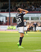 August 9th 2017, Dens Park, Dundee, Scotland; Scottish League Cup Second Round; Dundee versus Dundee United; Dundee's Faissal El Bakhtaoui dismay after missing a great chance early in the match