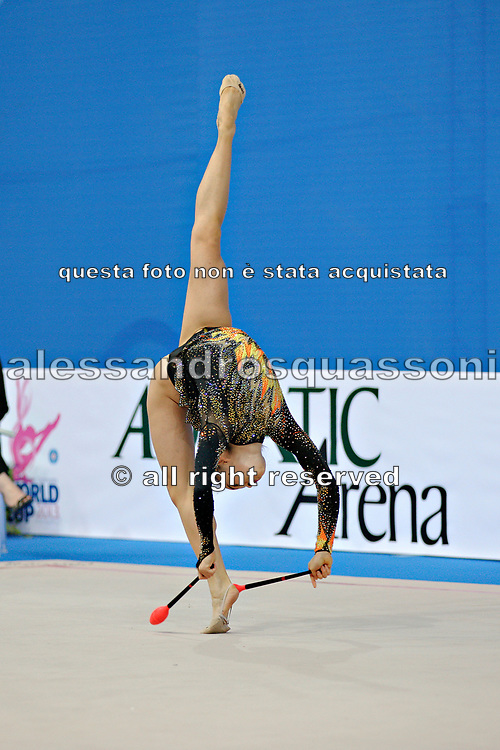 Lu Cindy during qualifying at clubs in Pesaro World Cup at Adriatic Arena on 27 April 2013.<br /> Maja is an American  individual rhythmic gymnast  born in Minneapolis on March 1, 1995.