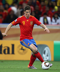 Fernando TORRES in action during the 2010 FIFA World Cup South Africa Group H match between Spain and Switzerland at Durban Stadium on June 16, 2010 in Durban, South Africa.