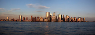 New York lower Manhattan cityscape ,  on Hudson river view from  New jersey Usa   /  le panorama du bas de manhattan , vue depuis  exchange place New jersey au coucher du soleil  New York  USa
