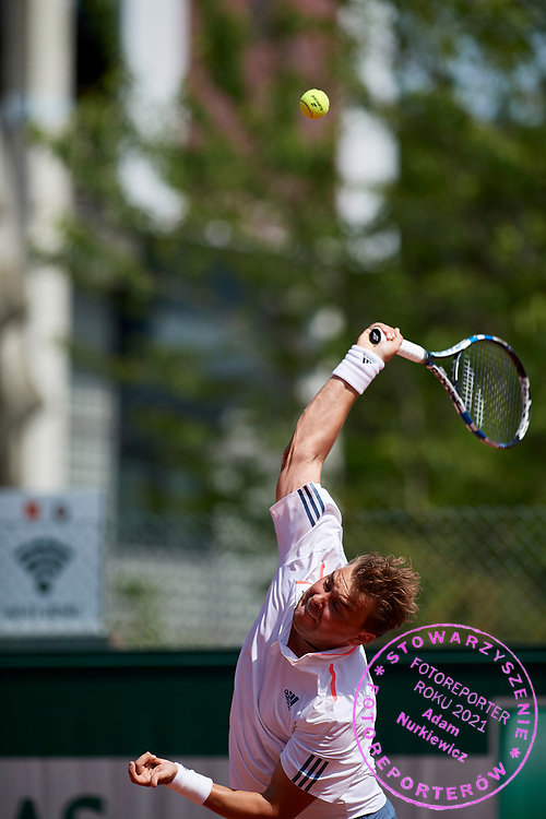 Paris, France - 2017 May 31: Marcin Matkowski from Poland serves while his men's double match first round during tennis Grand Slam tournament The French Open 2017 (also called Roland Garros) at Stade Roland Garros on May 31, 2017 in Paris, France.<br /> <br /> Mandatory credit:<br /> Photo by &copy; Adam Nurkiewicz<br /> <br /> Adam Nurkiewicz declares that he has no rights to the image of people at the photographs of his authorship.<br /> <br /> Picture also available in RAW (NEF) or TIFF format on special request.<br /> <br /> Any editorial, commercial or promotional use requires written permission from the author of image.