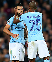 Sergio Aguero of Manchester City is consoled by Fernandinho after missing a penalty  - Mandatory by-line: Matt McNulty/JMP - 26/09/2017 - FOOTBALL - Etihad Stadium - Manchester, England - Manchester City v Shakhtar Donetsk - UEFA Champions League Group stage - Group F